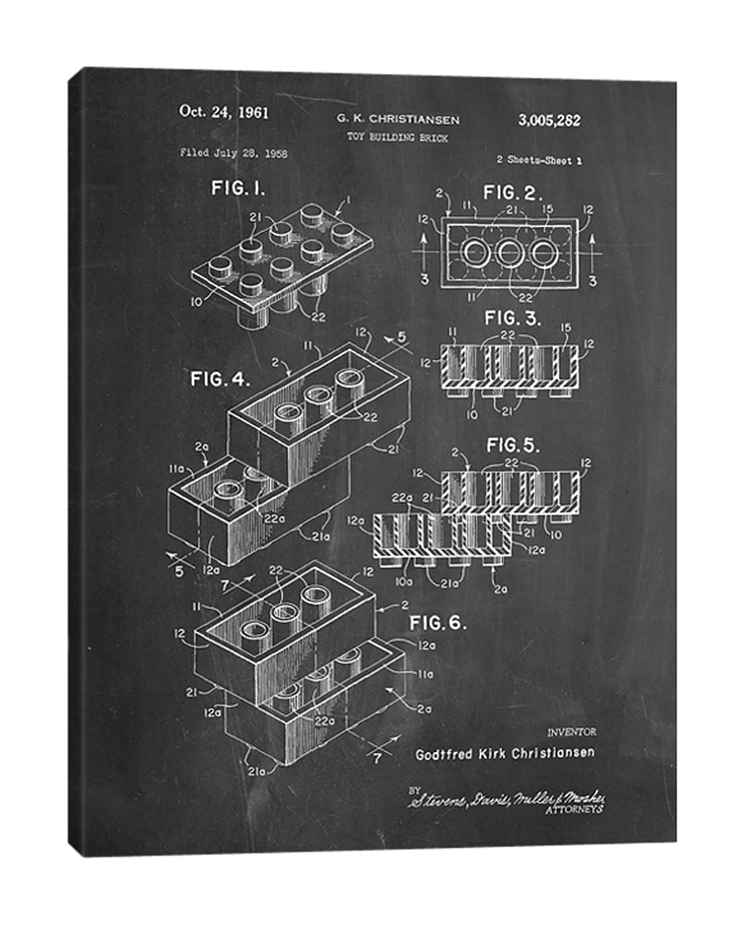 Cole-Borders,Modern & Contemporary,Entertainment,toy brick,bricks,toy building bricks,patented,blueprint,words and phrases,drawing,sketches,Teal Blue,Charcoal Gray,Gray,Army Green,White,Black