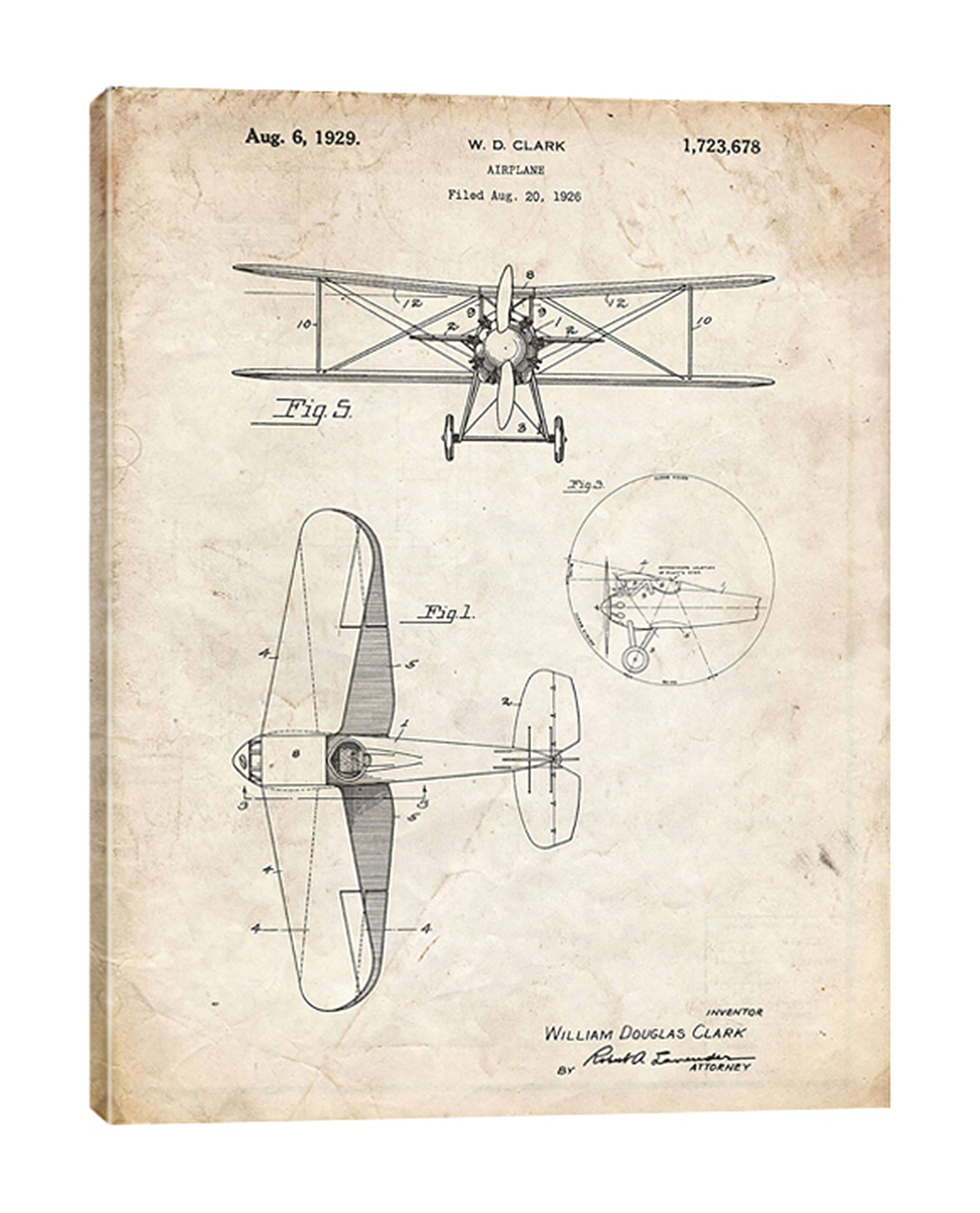Cole-Borders,Modern & Contemporary,Transportation,wd clark plane,plane,airplanes,blueprint,patented,words and phrases,drawing,sketches,rustic,Mist Gray,White,Gray,Coral Pink,Purple,Tan White