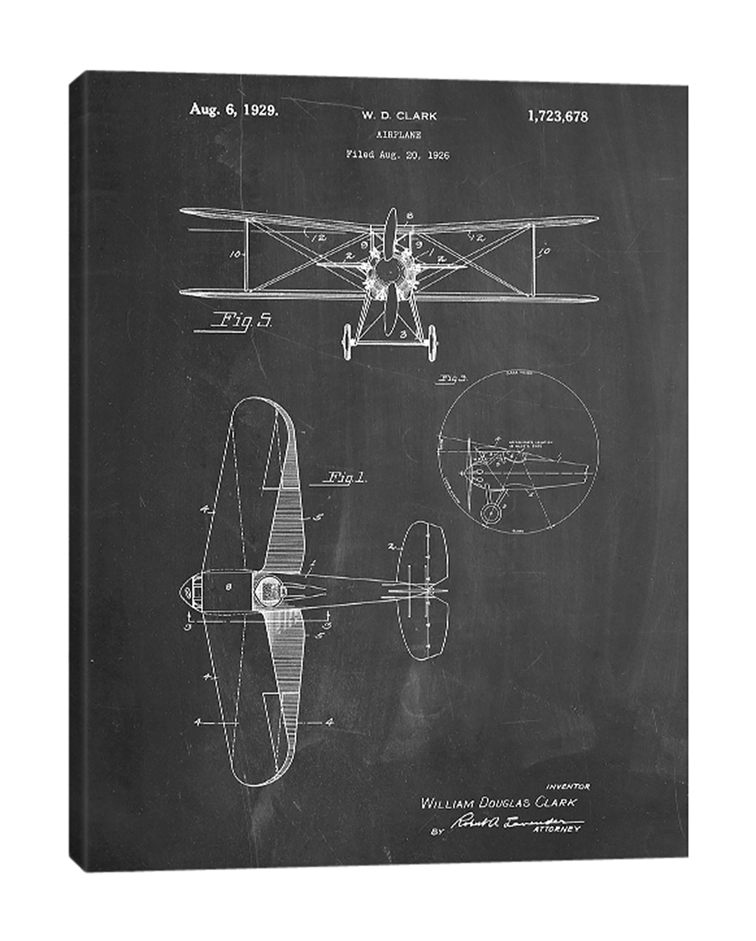 Cole-Borders,Modern & Contemporary,Transportation,wd clark plane,plane,airplanes,blueprint,patented,words and phrases,drawing,sketches,Red,Mint Green,Blue,Black