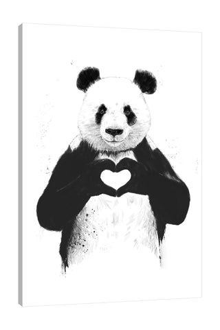 Balazs-Solti,Modern & Contemporary,Animals,animals,animal,panda,black and white,heart,hearts,pandas,Red,Mist Gray,Black,Tan Orange,White