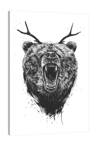 Balazs-Solti,Modern & Contemporary,Animals,animals,animal,bear,bears,angry,antlers,antler,spots,strokes,stroke,black and white,Red,Mist Gray,Charcoal Gray