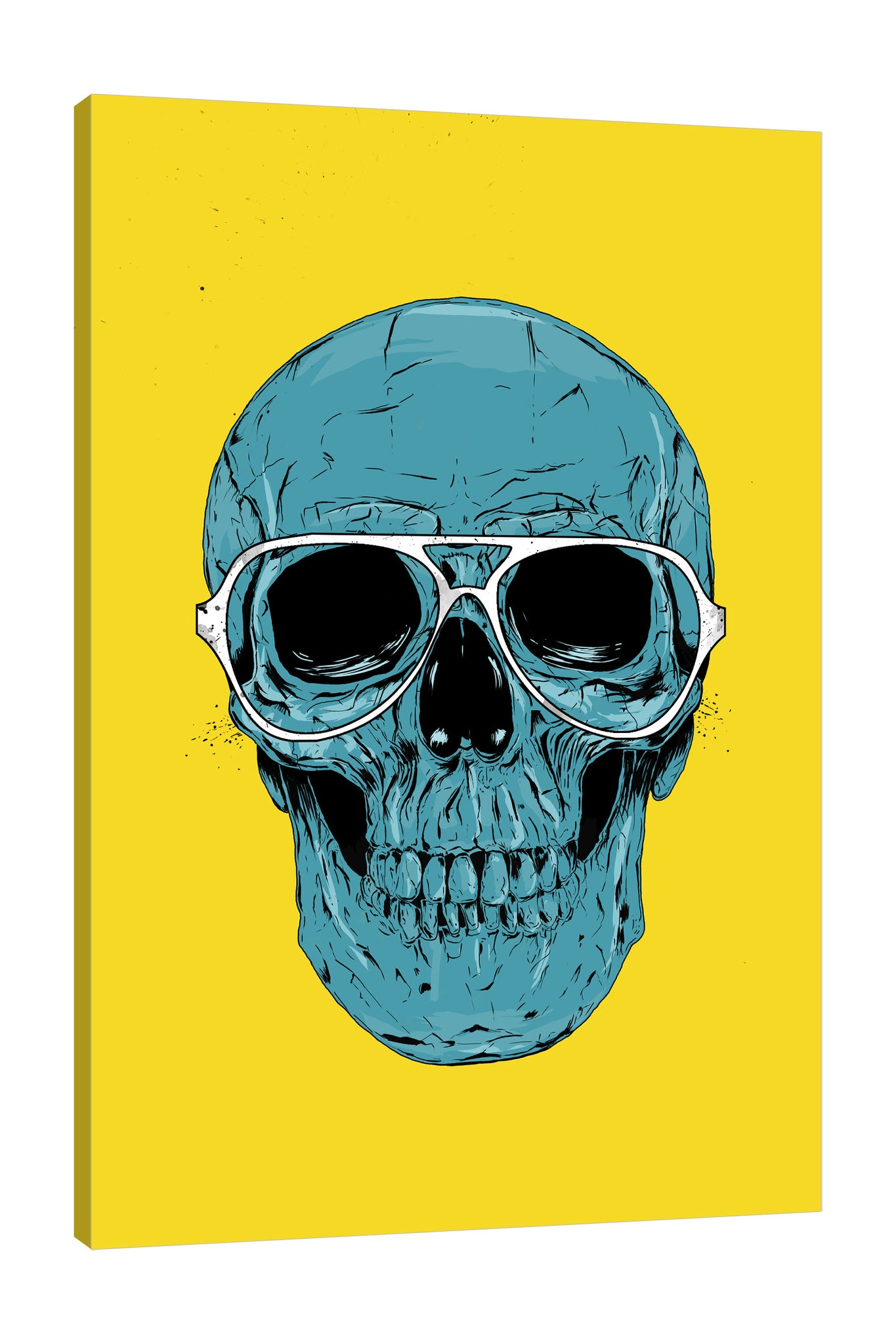 Balazs-Solti,Modern & Contemporary,Entertainment,skull,skulls,bones,bone,sunglasses,sunglass,eyeglass,eyeglasses,lines,white,black,blue,yellow,Tan White,Turquoise Blue,White,Red
