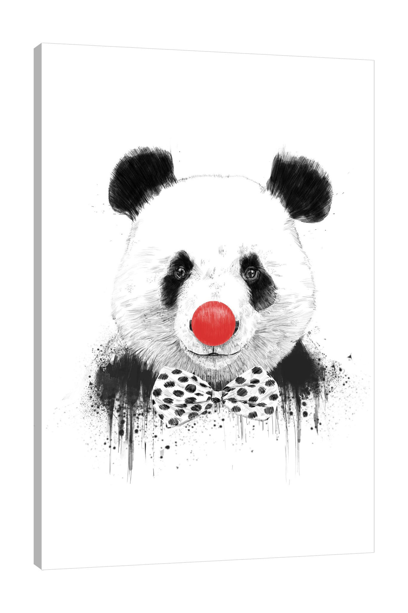 Balazs-Solti,Modern & Contemporary,Animals,Entertainment,animals,animal,panda,pandas,clown,clowns,nose balls,nose ball,paint drips,paint drip,drips,drip,bow,bows,polka dots,polka dot,dots,dot,black and white,Mist Gray,Tan Orange,Black,White