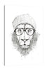 Balazs-Solti,Modern & Contemporary,Animals,Fashion,Entertainment,animals,animal,lion,lions,hat,eyeglass,eyeglasses,black and white,drawing,Salmon Pink,Gray,White
