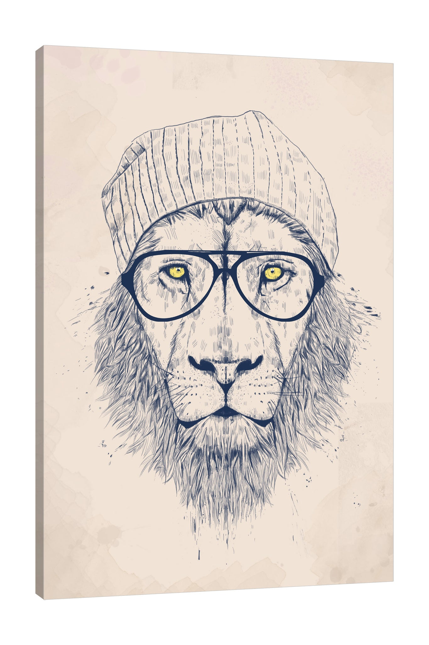 Balazs-Solti,Modern & Contemporary,Animals,Fashion,Entertainment,animals,animal,lion,lions,hat,eyeglass,eyeglasses,brown,beige,drawing,Mist Gray,White,Baby Blue,Gray,Charcoal Gray,Red,Black