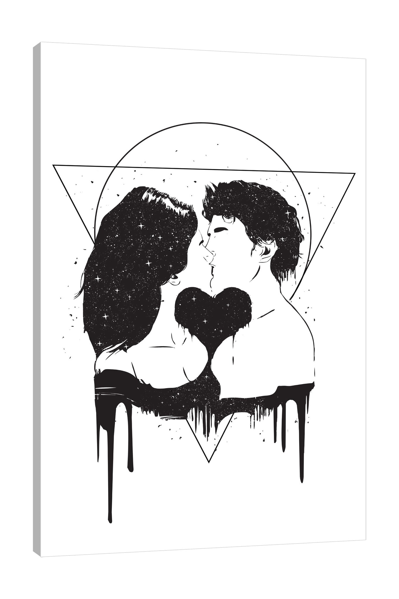 Balazs-Solti,Modern & Contemporary,People,Geometric,people,man,woman,couple,lovers,kissing,kiss,cosmic,shapes,shape,triangle,triangles,circle,circles,black and white,splatters,splatter,stars,sparkling,sparkle,paint drips,paint drip,drips,drip,Mist Gray,Teal Blue,Red,White