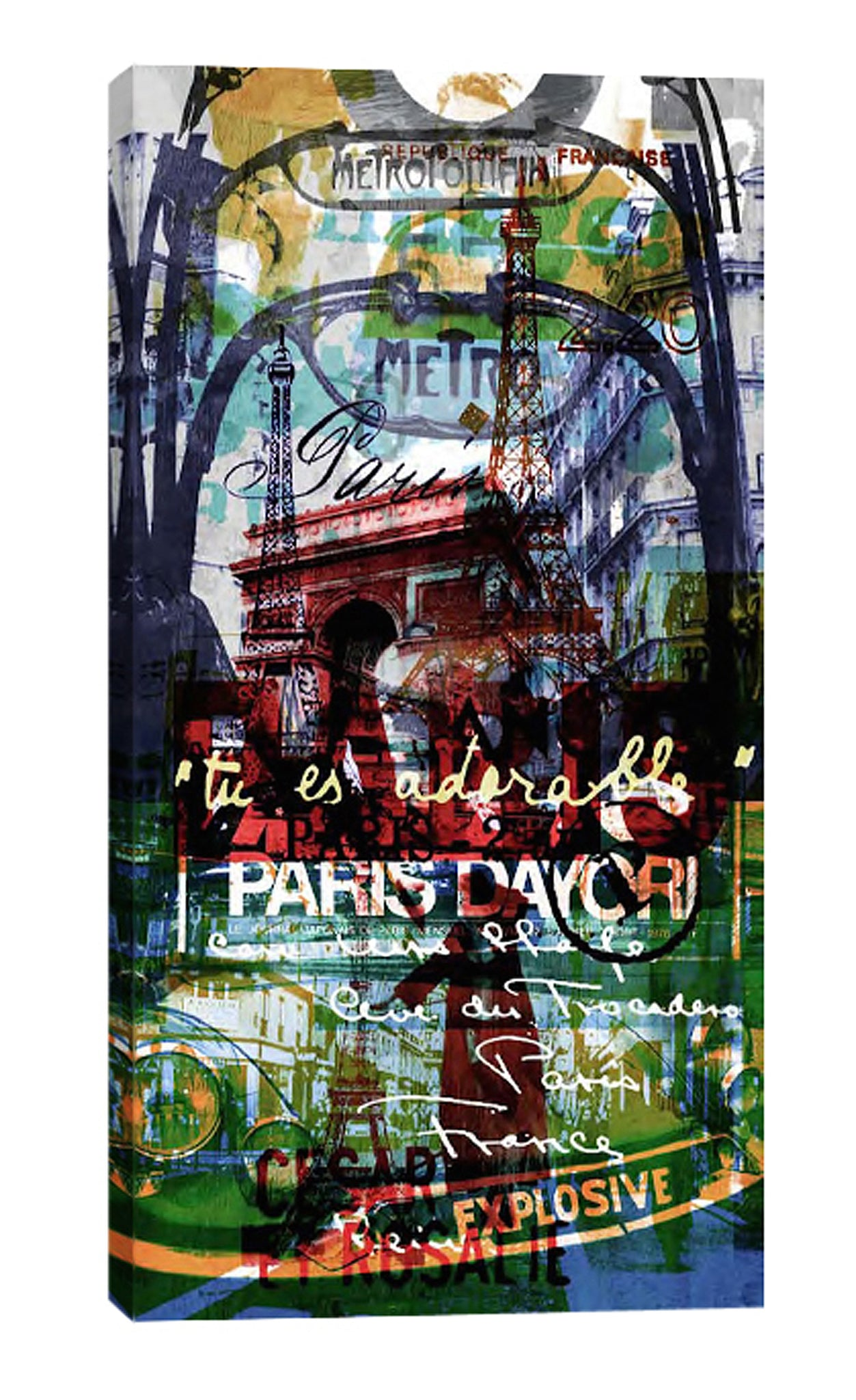 Sven-Pfrommer,Modern & Contemporary,Buildings & Cityscapes,words and phrases,paris,explosive,europe,Red,Black,Blue,Slate Gray,Navy Blue,Mint Green,Gray,Steel Blue