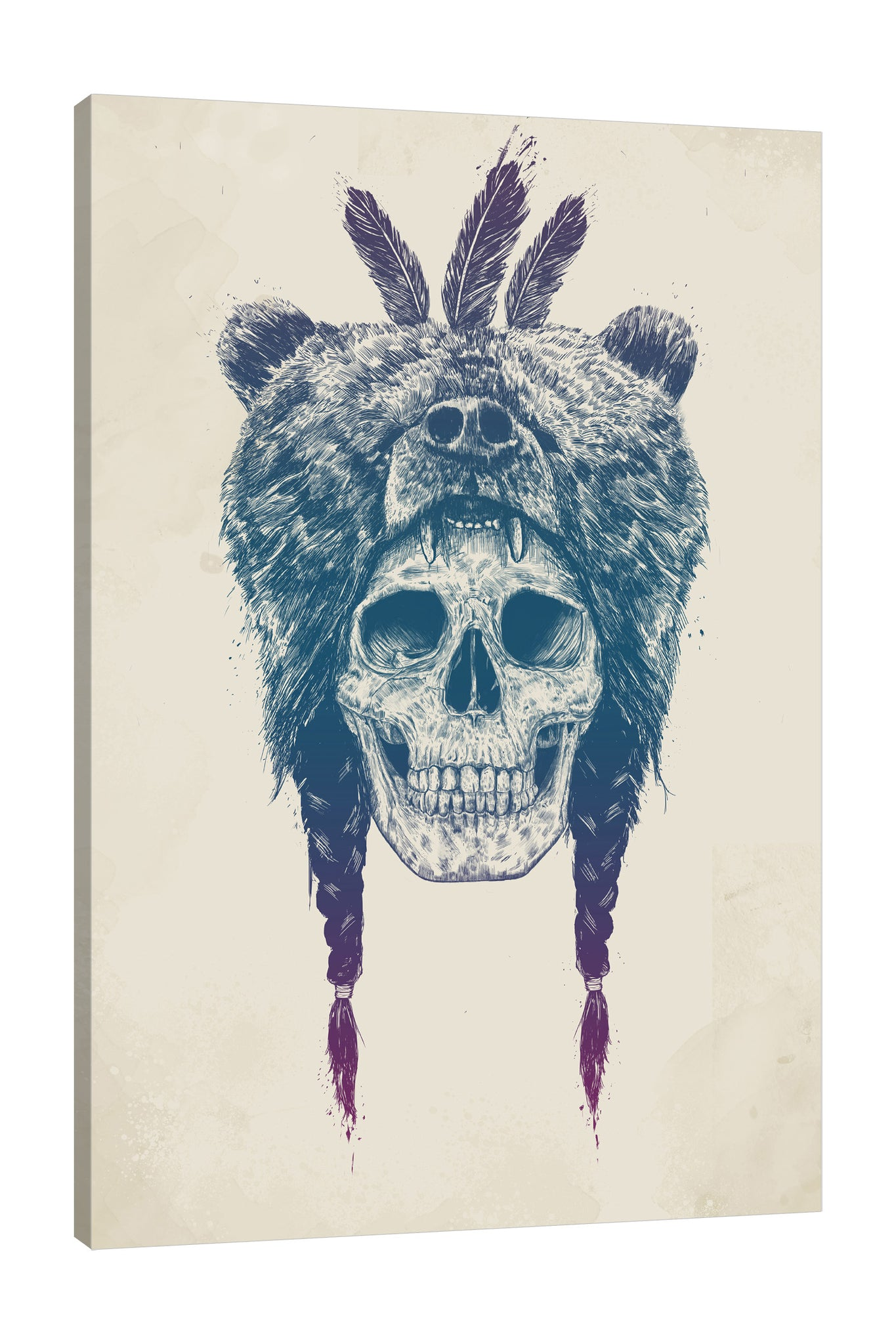 Balazs-Solti,Modern & Contemporary,Animals,Fashion,animals,animal,bear,bears,skulls,skull,feathers,feather,braids,braid,bones,bone,shaman,Mist Gray,White,Lime Green,Charcoal Gray,Sea Green,Gray,Purple
