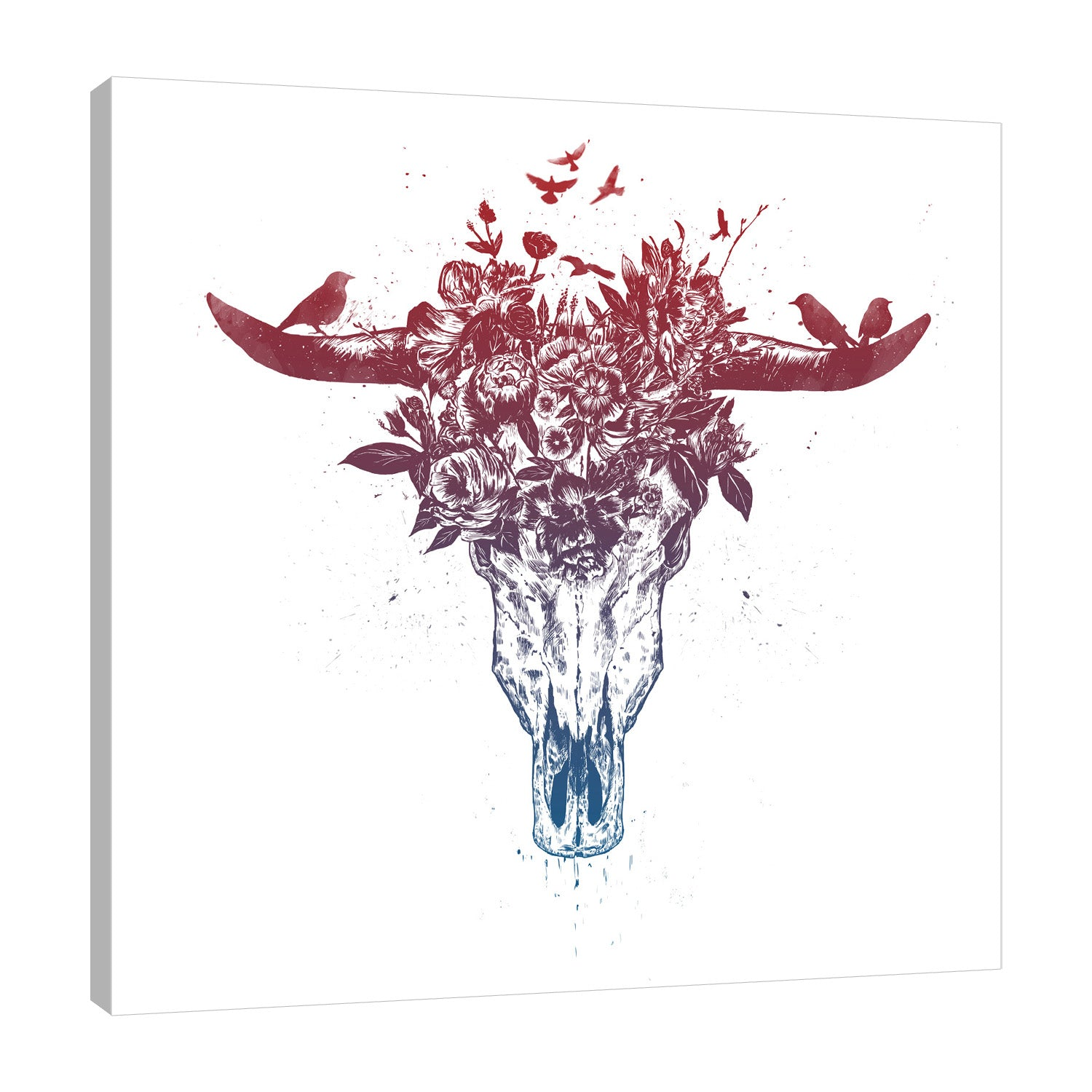 Balazs-Solti,Modern & Contemporary,Animals,Floral & Botanical,animals,animal,florals,floral,flower,flowers,birds,bird,skull,skulls,leaves,horns,horn,Salmon Pink,Gray,White
