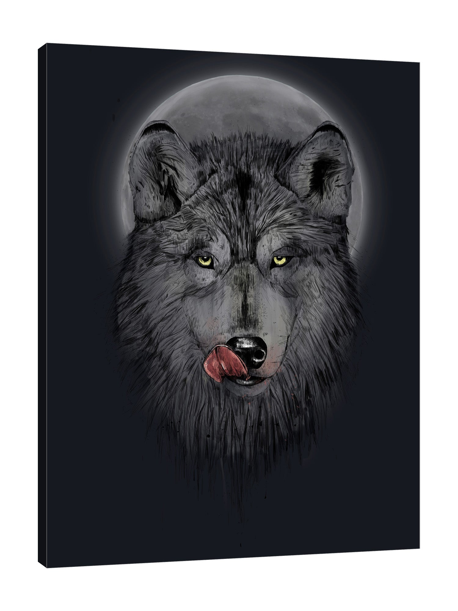 Balazs-Solti,Modern & Contemporary,Animals,animals,animal,wolf,wolves,moon,moons,black,hungry,dinner time,dinner,gray,Blue,White,Charcoal Gray,Black,Navy Blue,Green,Sea Green,Gray