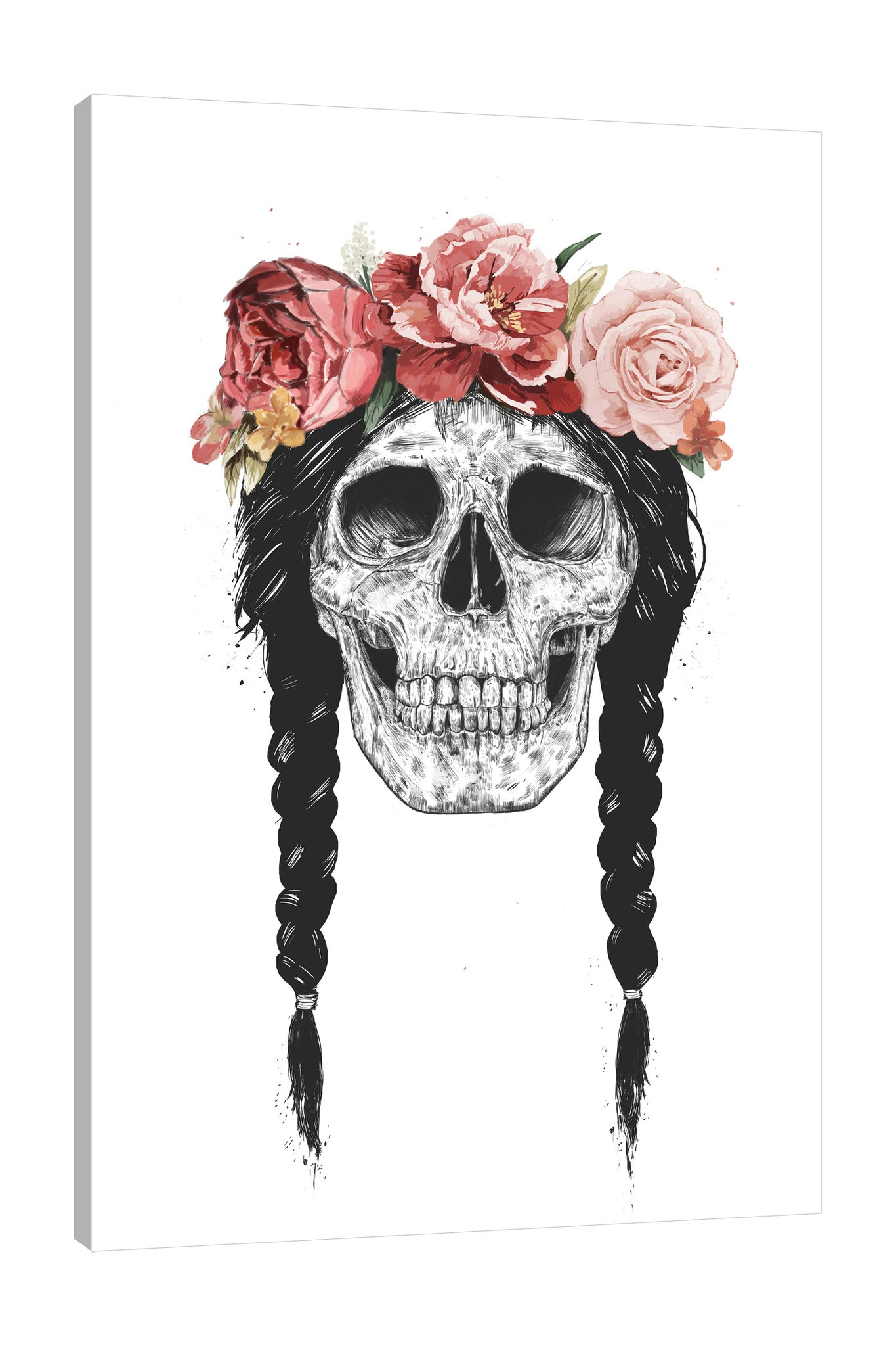 Balazs-Solti,Modern & Contemporary,People,Floral & Botanical,skull,skulls,bones,bone,hair,braids,braid,florals,floral,flower,flowers,leaves,leaf,Red,Mist Gray,Blue,Ivory White,Gray