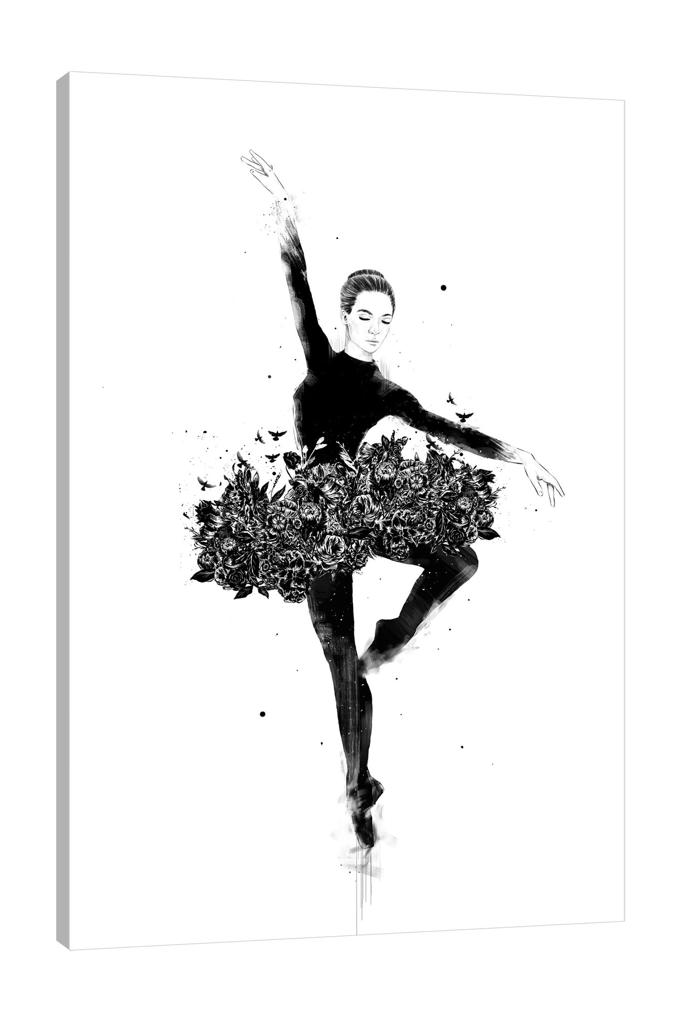 Balazs-Solti,Modern & Contemporary,People,Floral & Botanical,woman,women,ballet,dancing,dance,florals,floral,flower,flowers,birds,bird,black and white,Tan Orange,Mist Gray,Gray,Tan White