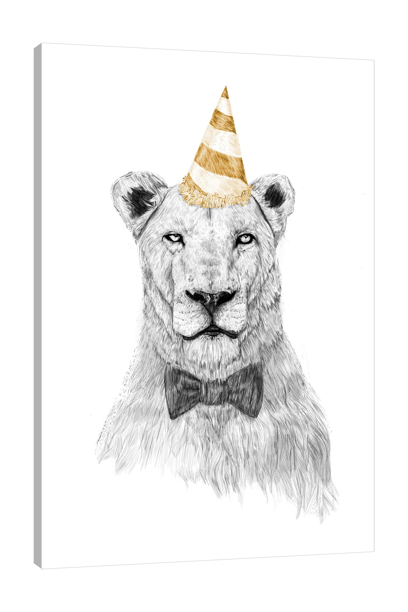 Balazs-Solti,Modern & Contemporary,Animals,Entertainment,animals,animal,lion,lions,bow,bows,party hat,party hats,parties,lines,strokes,line,stroke,black and white,yellow,Blue,White