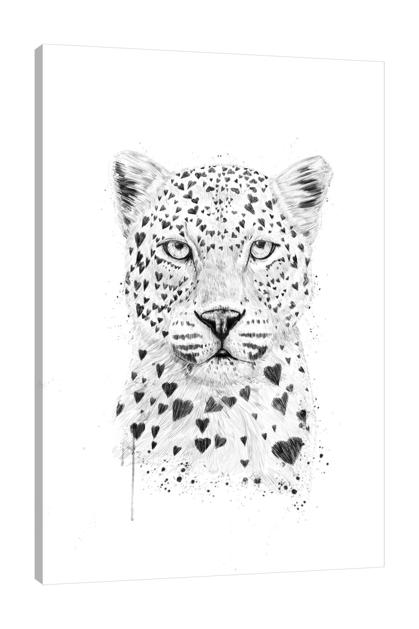 Balazs-Solti,Modern & Contemporary,Animals,animals,animal,hearts,heart,lines,leopard,leopards,paint drips,paint drip,drips,drip,spots,patterns,pattern,Salmon Pink,White,Gray
