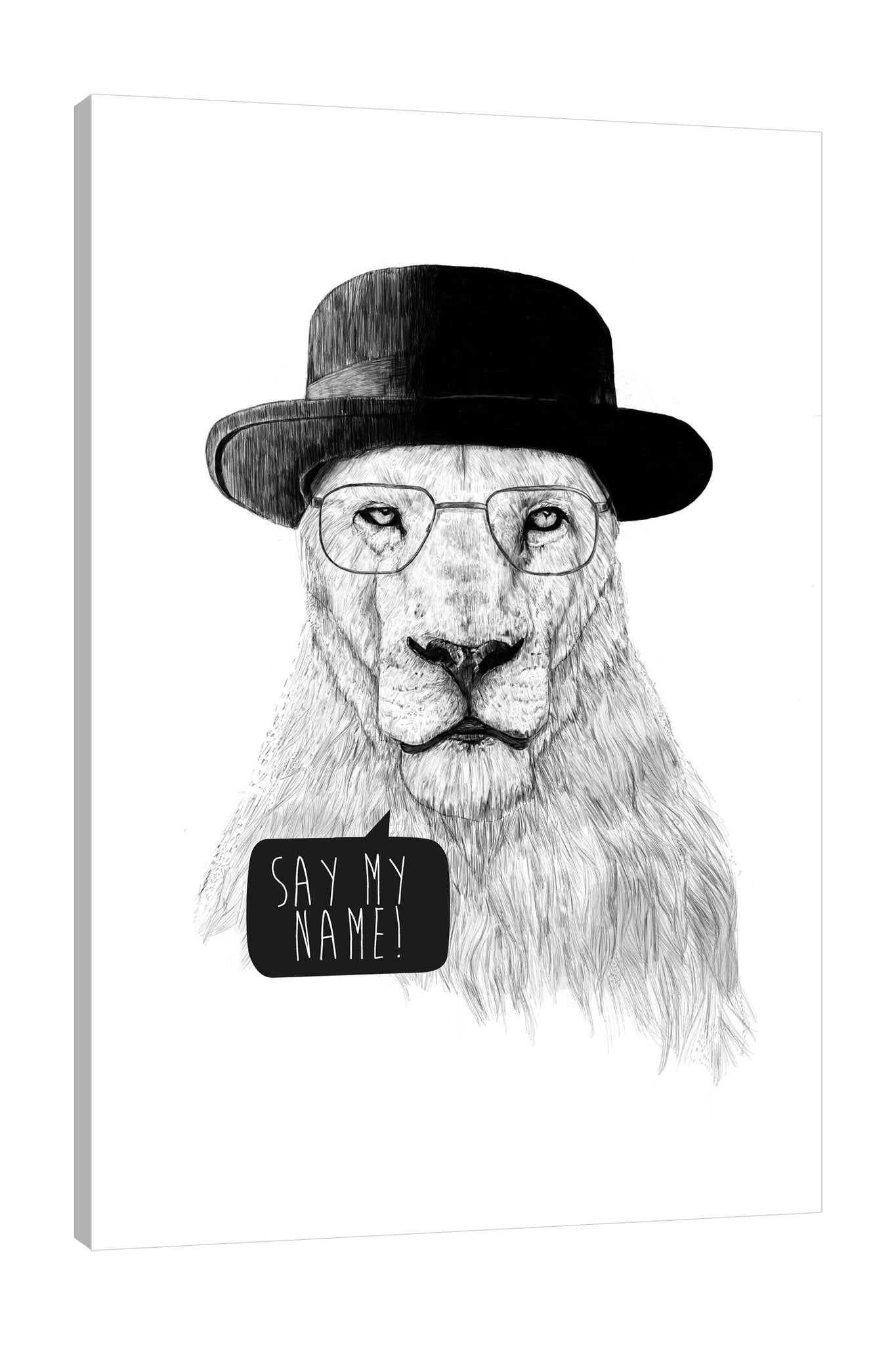 Balazs-Solti,Modern & Contemporary,Animals,Humor,animals,animal,lion,lion,eyeglass,eyeglasses,glasses,words,words and phrases,hats,hat,black and white,Mist Gray,Coral Pink,Black,White