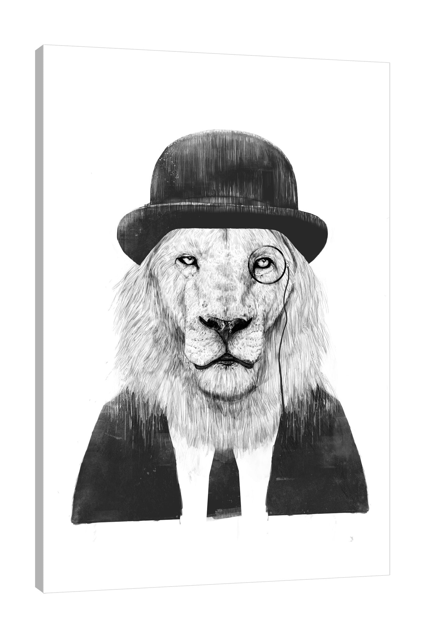 Balazs-Solti,Modern & Contemporary,Animals,Fashion,animals,animal,lion,lions,hats,hat,suit,suits,sir lion,necktie,neckties,black and white,Red,Mist Gray,Black,White
