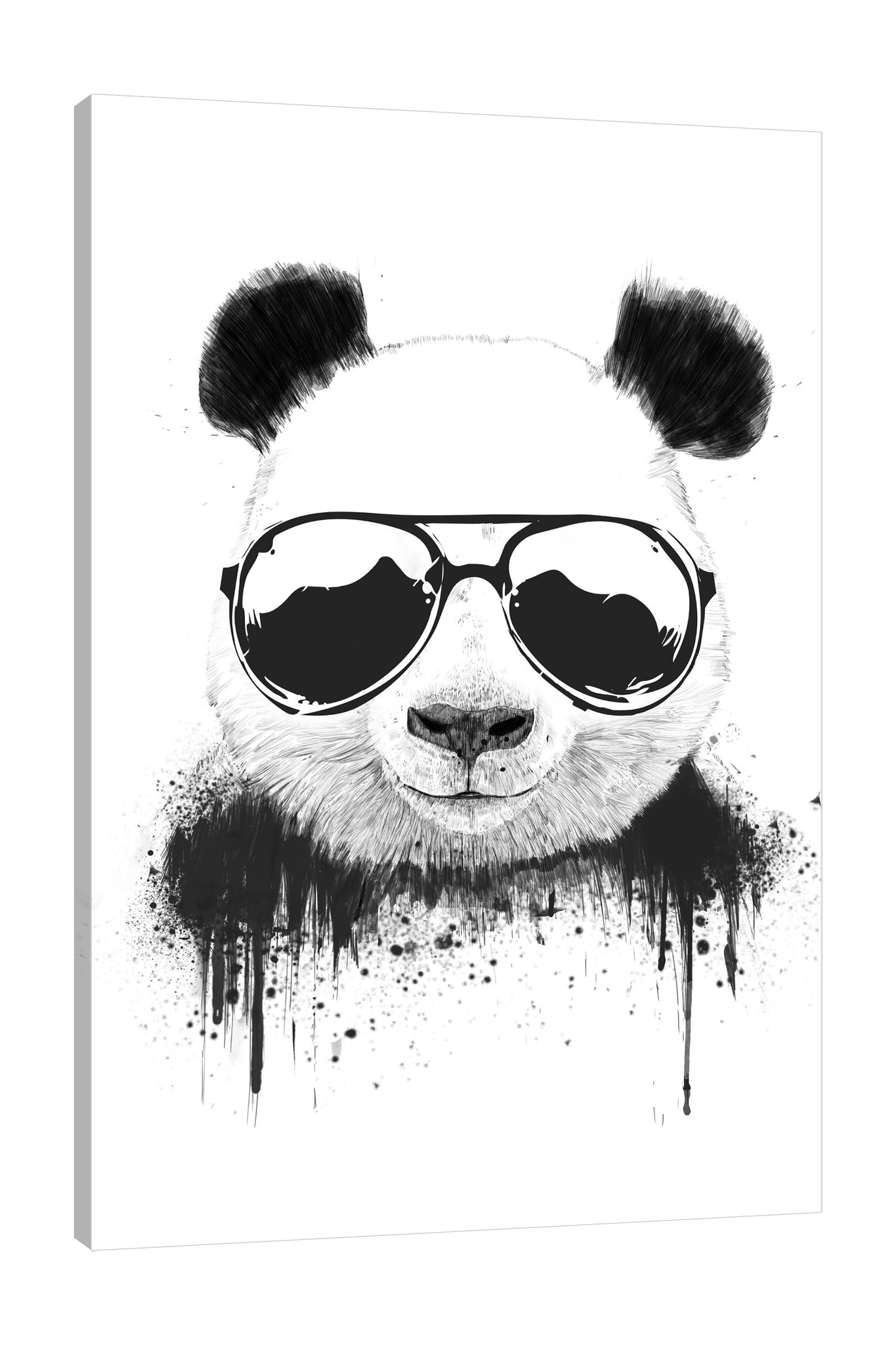 Balazs-Solti,Modern & Contemporary,Animals,Fashion,animals,animal,panda,pandas,shades,shade,paint drips,paint drip,drips,drip,sunglasses,sunglass,glasses,shades,shade,black and white,cool,Red,Mist Gray,Black,Coral Pink,White