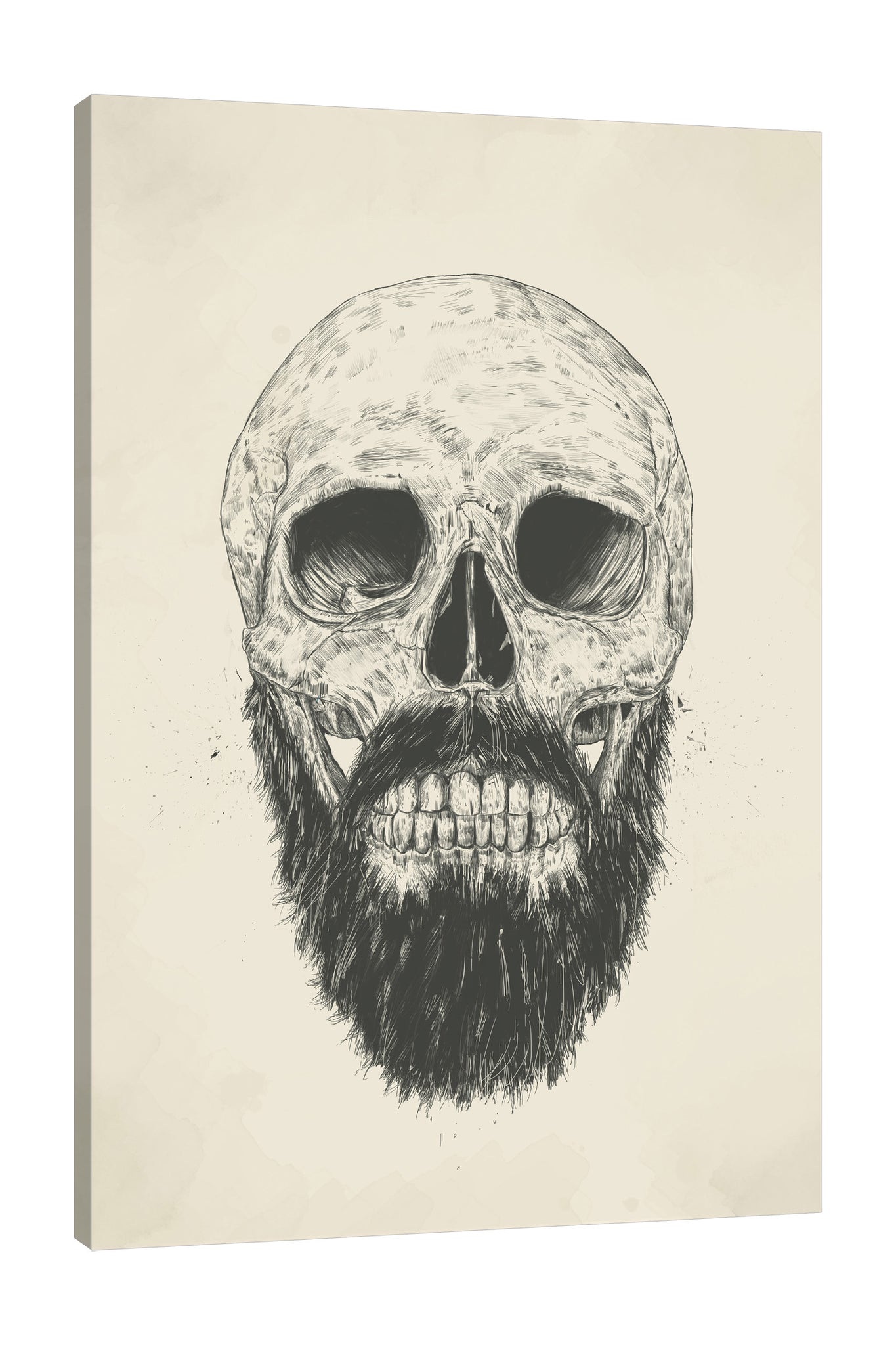 Balazs-Solti,Modern & Contemporary,People,bones,bone,skull,skulls,mustache,mustaches,cream,lines,line,beard is not dead,Mist Gray,White,Mint Green,Gray,Blue,Brown