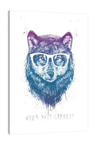 Balazs-Solti,Modern & Contemporary,Animals,Entertainment,animals,animal,eyeglass,eyeglasses,wolf,wolves,paint drips,paint drip,drip,dips,words and phrases,whos your granny,Charcoal Gray,Gray,Salmon Pink,White