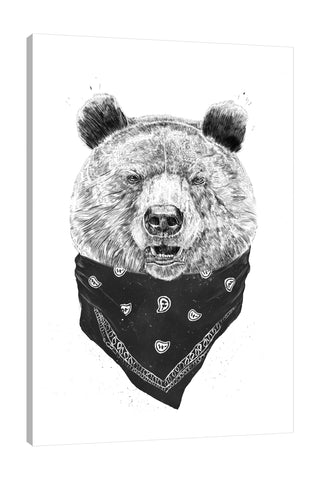 Balazs-Solti,Modern & Contemporary,Animals,animals,animal,bear,bears,bandana,bandanas,black and white,stroke,Red,Mist Gray,Teal Blue