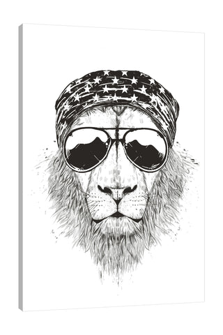 Balazs-Solti,Modern & Contemporary,Animals,Fashion,animals,animal,sunglasses,sunglass,shades,shade,star,stars,bandana,bandanas,lion,lions,black and white,Red,Tan White,Charcoal Gray,Salmon Pink