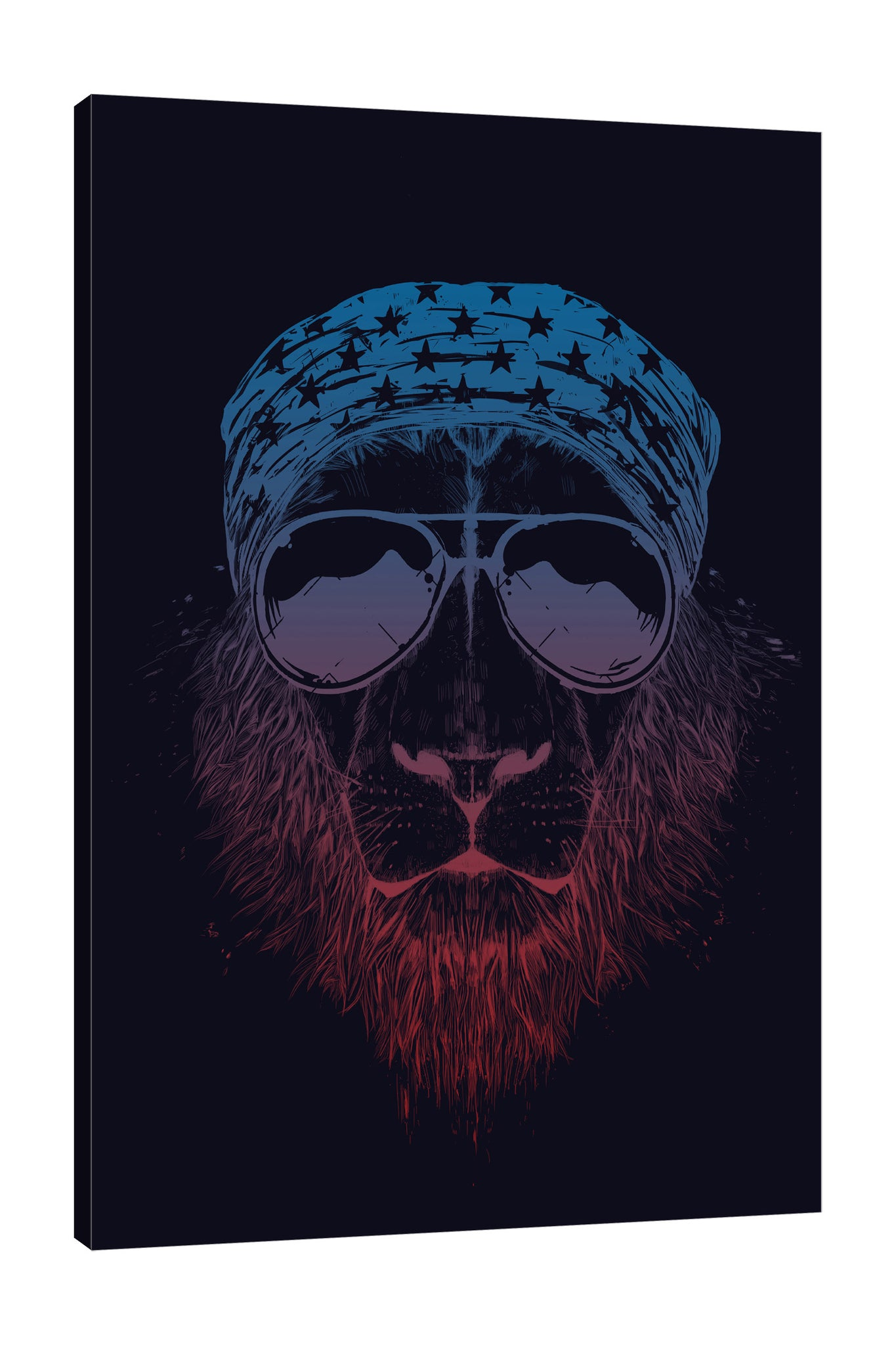 Balazs-Solti,Modern & Contemporary,Animals,Fashion,animals,animal,sunglasses,sunglass,shades,shade,star,stars,bandana,bandanas,lion,lions,black,Red,Sea Green,Charcoal Gray,Turquoise Blue,Black