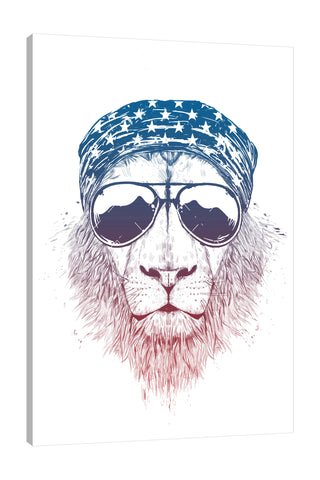 Balazs-Solti,Modern & Contemporary,Animals,Fashion,animals,animal,sunglasses,sunglass,shades,shade,star,stars,bandana,bandanas,lion,lions,white,Purple,Salmon Pink,White