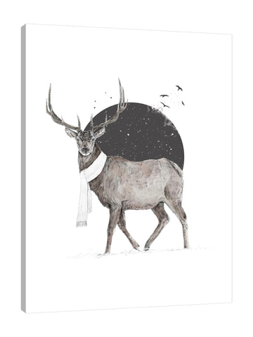 Balazs-Solti,Modern & Contemporary,Animals,animals,animal,moon,stars,star,moons,birds,bird,deers,deer,antlers,antler,brown,black,white,winter,Mist Gray,Tan Orange,Gray