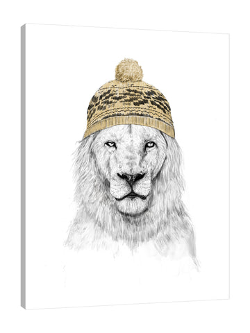 Balazs-Solti,Modern & Contemporary,Animals,animals,animal,hat,hats,winter,lion,lions,white,yellow,pattern,patterns,Red,White,Gray