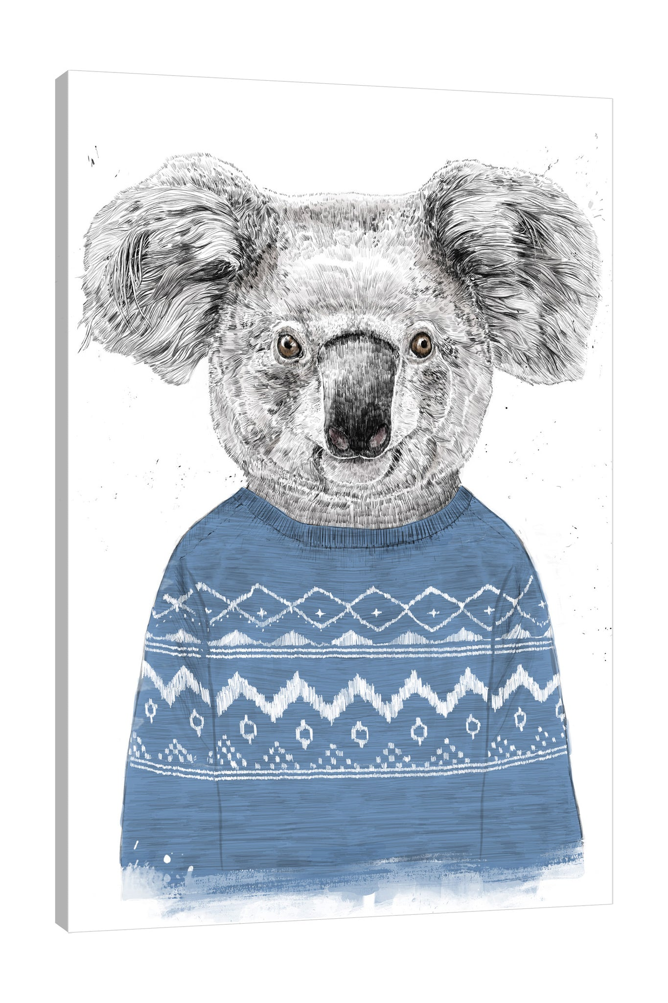 Balazs-Solti,Modern & Contemporary,Animals,Geometric,animals,animal,koalas,koala,sweater,sweaters,blue,pattern,patterns,white,diamonds,diamond,shapes,shape,triangle,triangles,Turquoise Blue,Gray,Blue,Purple,Charcoal Gray,Coral Pink,White
