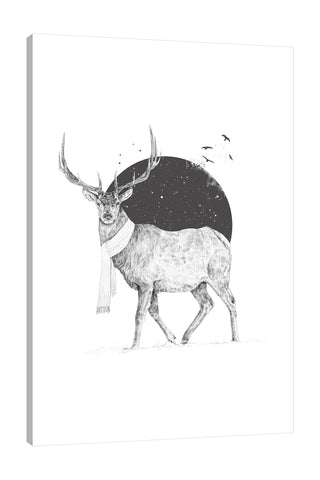 Balazs-Solti,Modern & Contemporary,Animals,animals,animal,moon,stars,star,moons,birds,bird,deers,deer,antlers,antler,brown,black,white,winter,Mist Gray,Gray