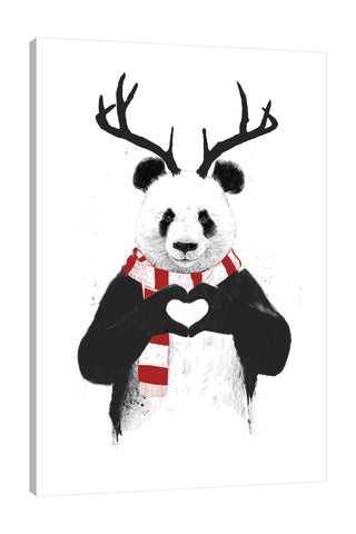Balazs-Solti,Modern & Contemporary,Animals,animals,animal,panda,pandas,heart,hearts,winter,red,white,black and white,christmas,Tan Orange,Black,Tan White,White