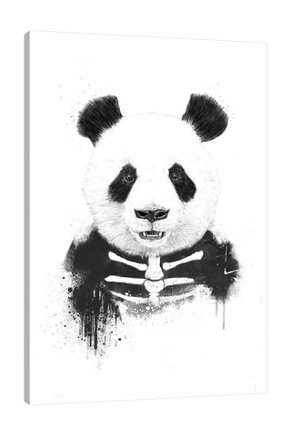 Balazs-Solti,Modern & Contemporary,Animals,animals,animal,panda,pandas,zombie panda,zombies,zombie,skeleton,sleketal,black and white,paint drips,paint drip,drips,drip,Mist Gray,Sea Green,White