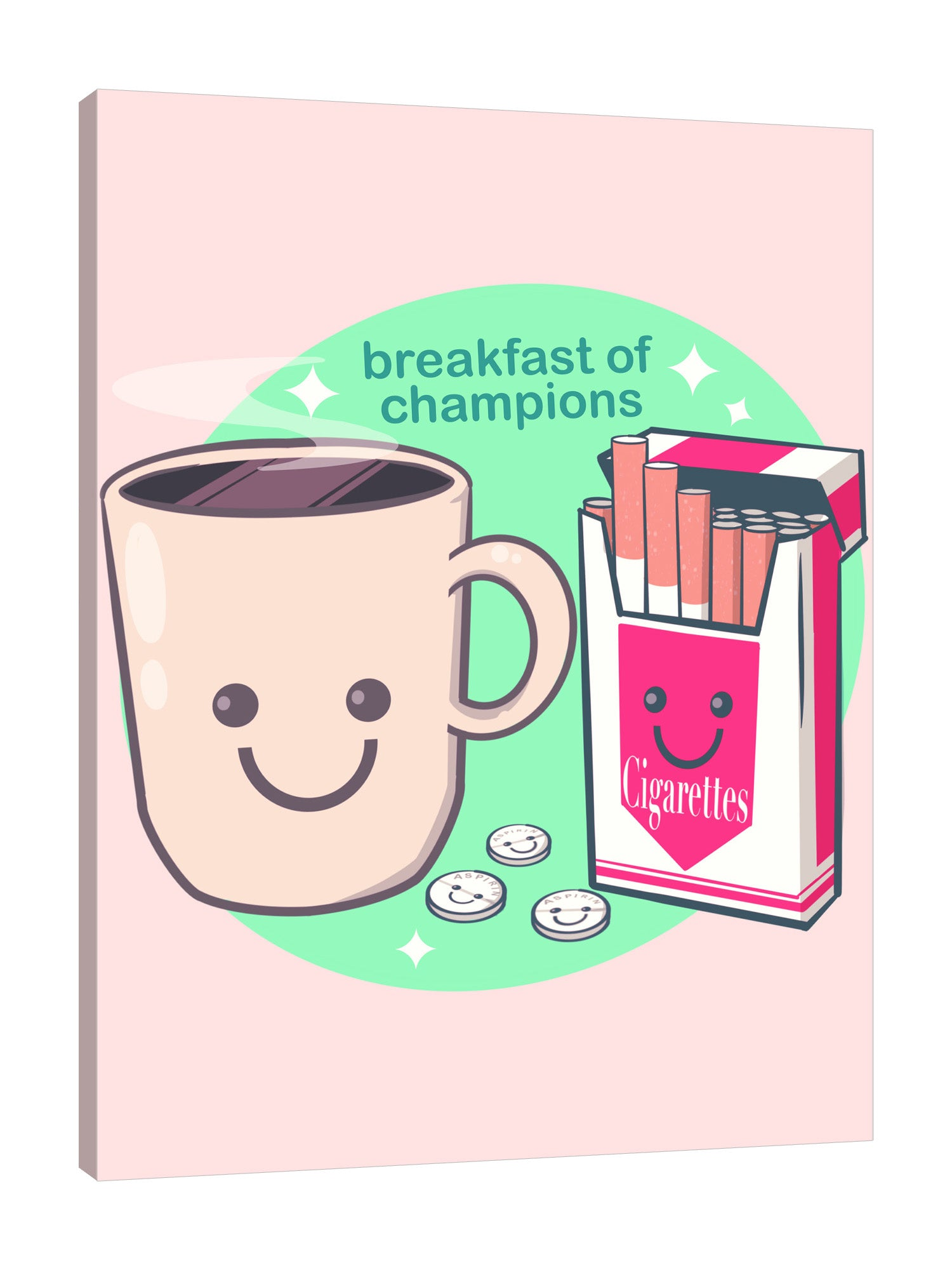 Ludwig-Van-Bacon,Vertical,3X4,Modern & Contemporary,Entertainment,Humor,Food & Beverage,cigarettes,cigarrette,smoking,smoke,pack of cigarettes,coins,coin,smile,smiley,champions,champ,coffee,coffees,drinks,sparkle,sparkles,cup,cups,humor,Red,Nude White,Blue,Charcoal Gray,Sky Blue,Tan Orange,Gray,White