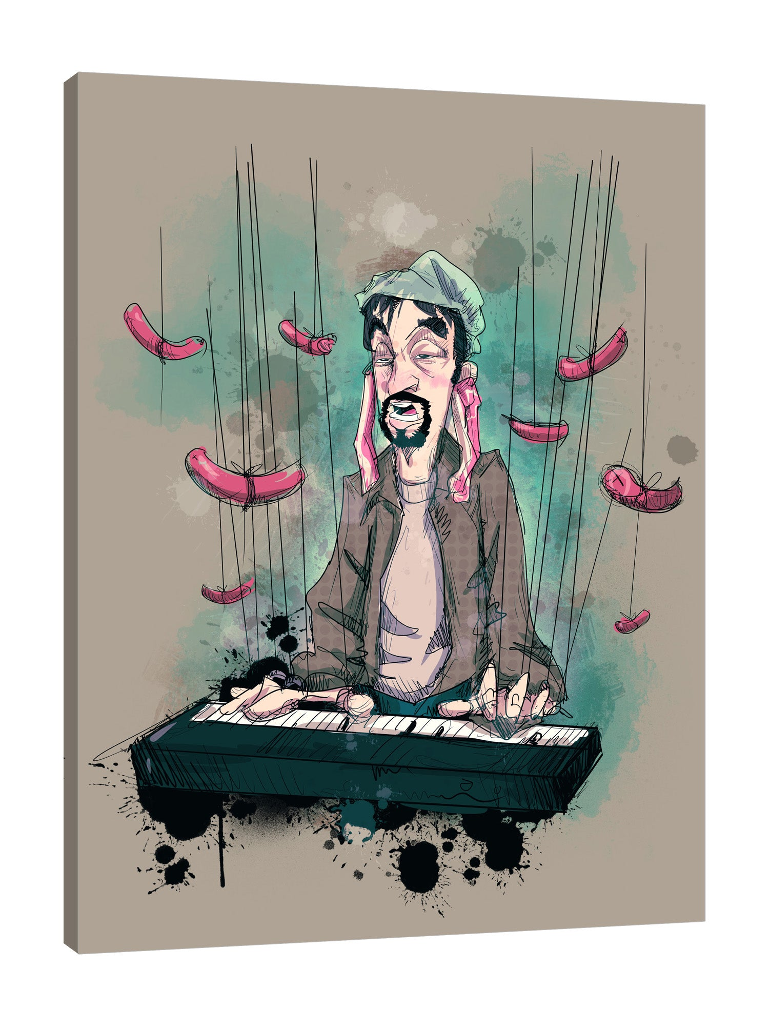 Ludwig-Van-Bacon,Vertical,3X4,Modern & Contemporary,People,Entertainment,Food & Beverage,entertainment,man,daddy,sausage,sausages,food,piano,pianist,musician,music,splatter,splatters,lines,Red,Pale Green,Black,Mint Blue,White,Mist Gray,Gray