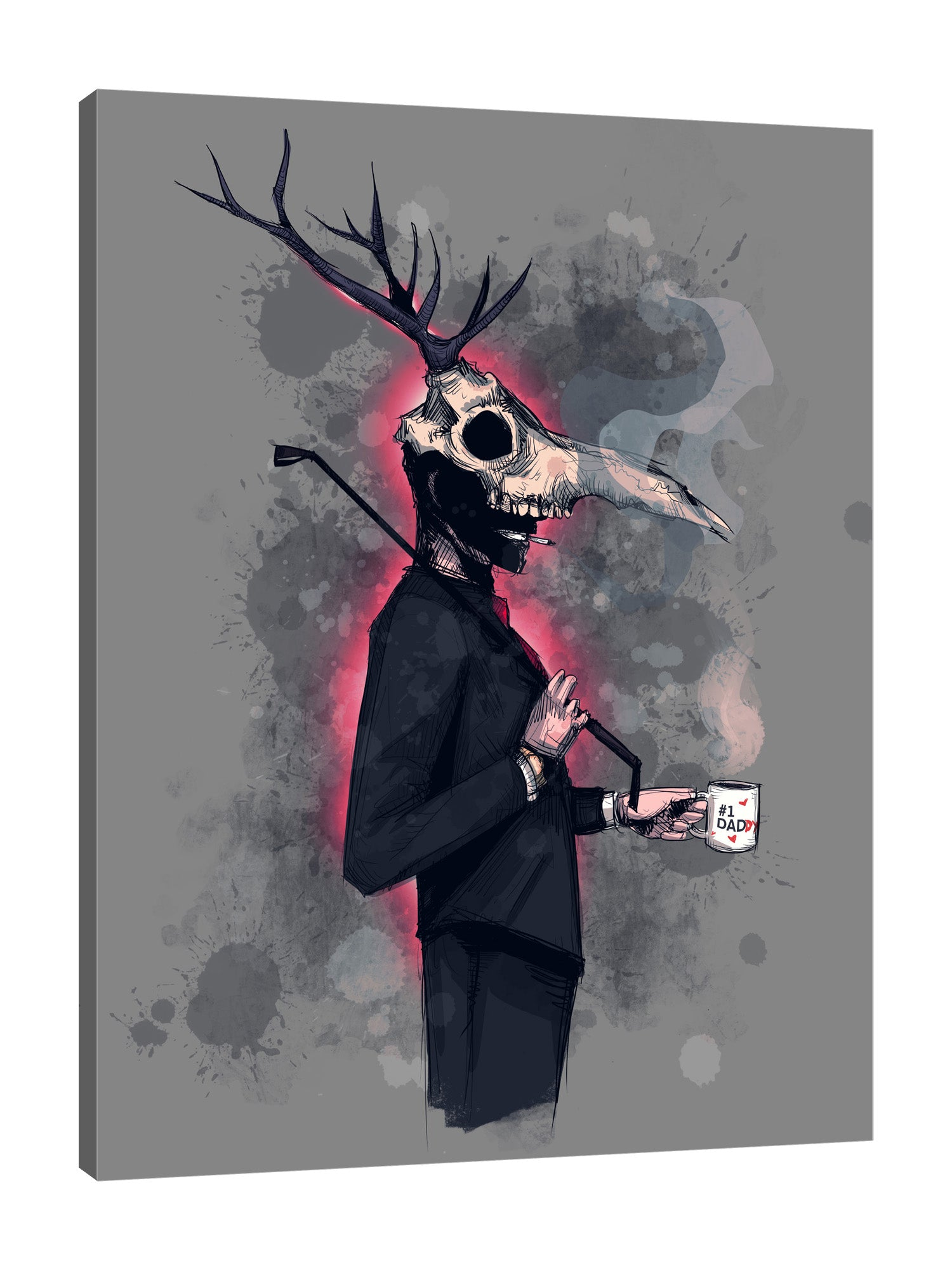 Ludwig-Van-Bacon,Vertical,3X4,Modern & Contemporary,Entertainment,People,Fantasy & Sci-Fi,bdsm,cosplay,words,deer,horns,suits,dad,costume,cup,holding,mug,smoking,smoke,whip,whips,Charcoal Gray,Red,Purple,Blue