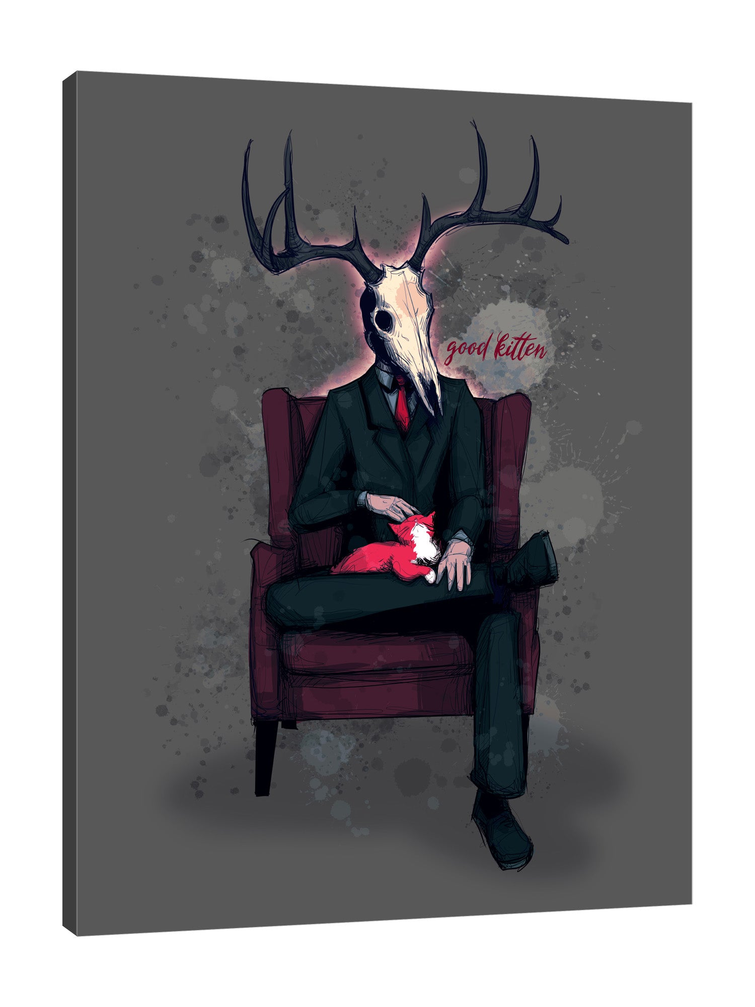 Ludwig-Van-Bacon,Vertical,3X4,Modern & Contemporary,Entertainment,People,Fantasy & Sci-Fi,Animals,bdsm,cosplay,words,deer,horns,suits,dad,costume,sitting,sit,animals,animal,cat.chair,chairs,Charcoal Gray,White,Black,Blue,Gray