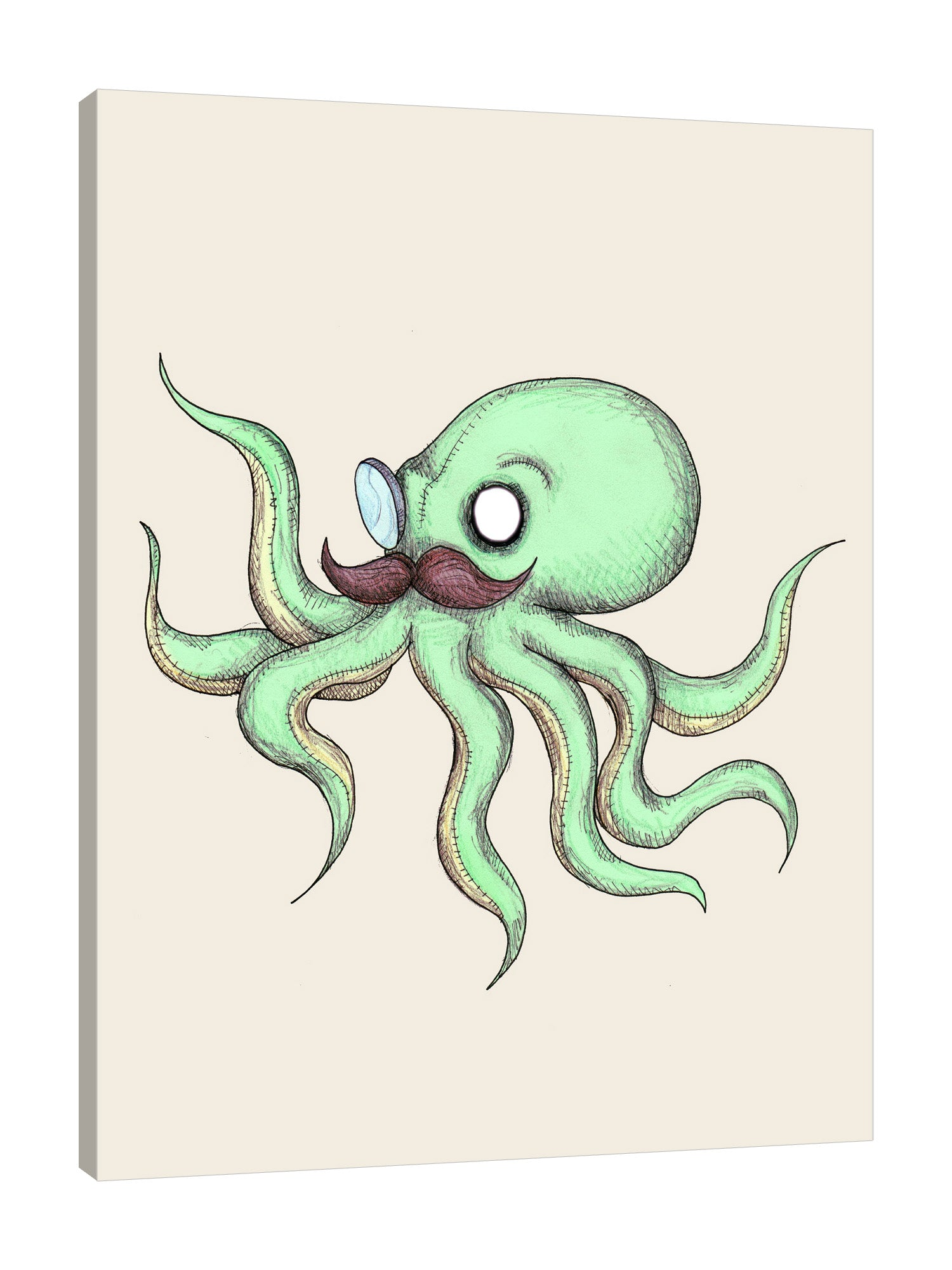 Ludwig-Van-Bacon,Vertical,3X4,Coastal,Modern & Contemporary,Animals,Nautical & Beach,coastal,octopus,octopuses,mustaches,mustache,green,animals,animal,Coral Pink,Gray,Mist Gray,Yellow