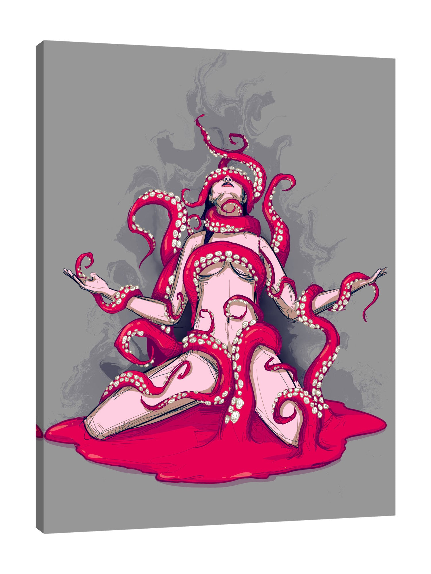 Ludwig-Van-Bacon,Vertical,3X4,Modern & Contemporary,Fantasy & Sci-Fi,Entertainment,People,woman,lady,octopus,octopuses,erotic,red,bloody,blood,red,heart of,heart,tentacles,tentacle,Charcoal Gray,Red,Gray,Blue,Rose Purple,White,Purple,Black
