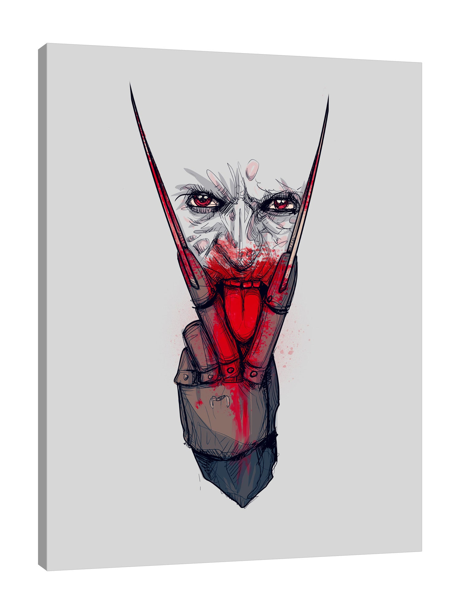 Ludwig-Van-Bacon,Vertical,3X4,Modern & Contemporary,Entertainment,kreuger,kreugerlingus,freddy,freddy kreuger,knife,knives,halloween,gloves,glove,blood,bloody,Blue,Rose Red,Gray