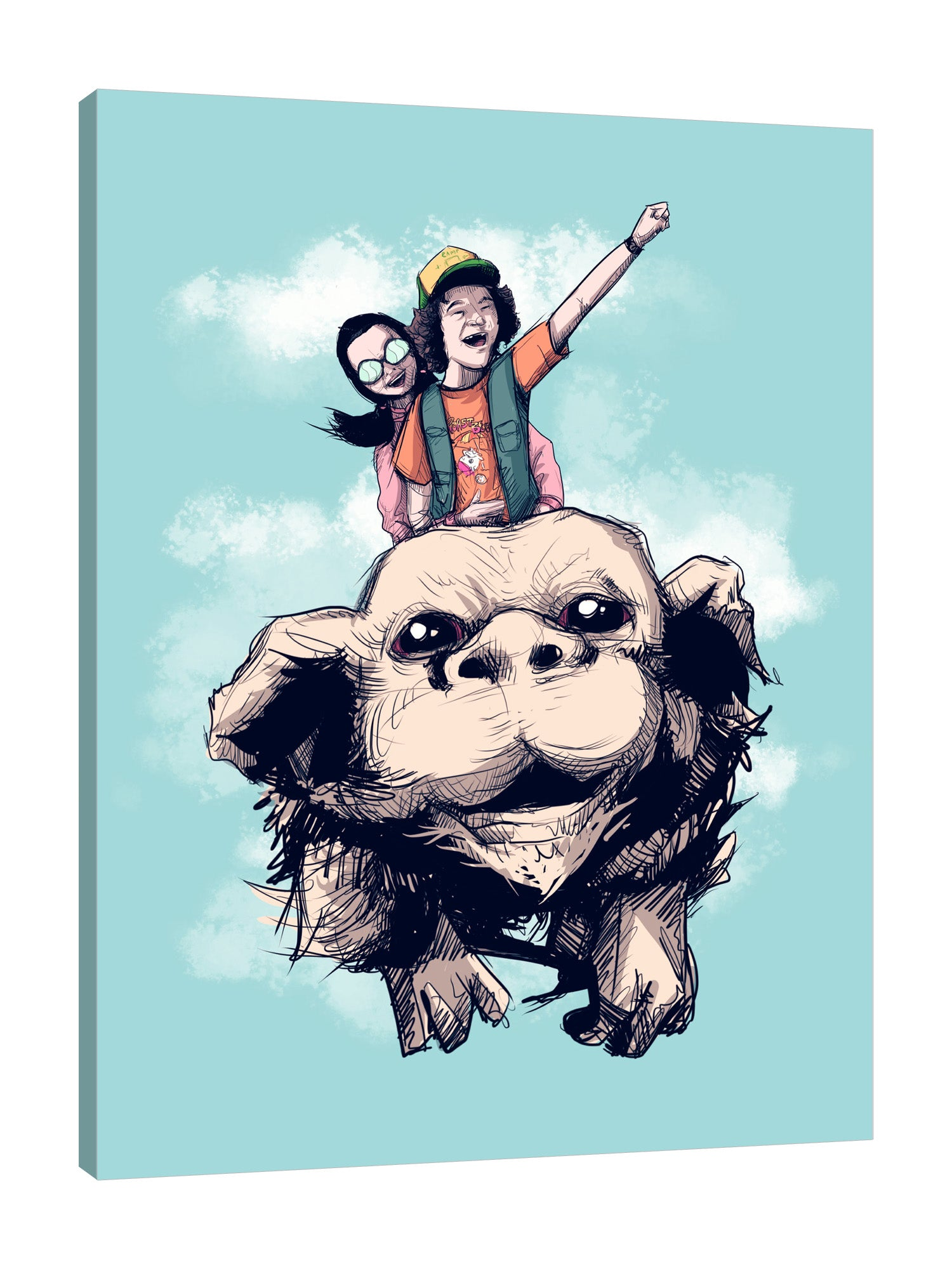 Ludwig-Van-Bacon,Vertical,3X4,Modern & Contemporary,Entertainments,Humor,People,Animals,Fantasy & Sci-Fi,never ending,neverending story,movies,movie,entertainment,humor,animals,animal,dog,dogs,flying dog,dustin,cinema,Blue,Red,Magenta Red,Black,Gray,Charcoal Gray,Sea Green,Lime Green