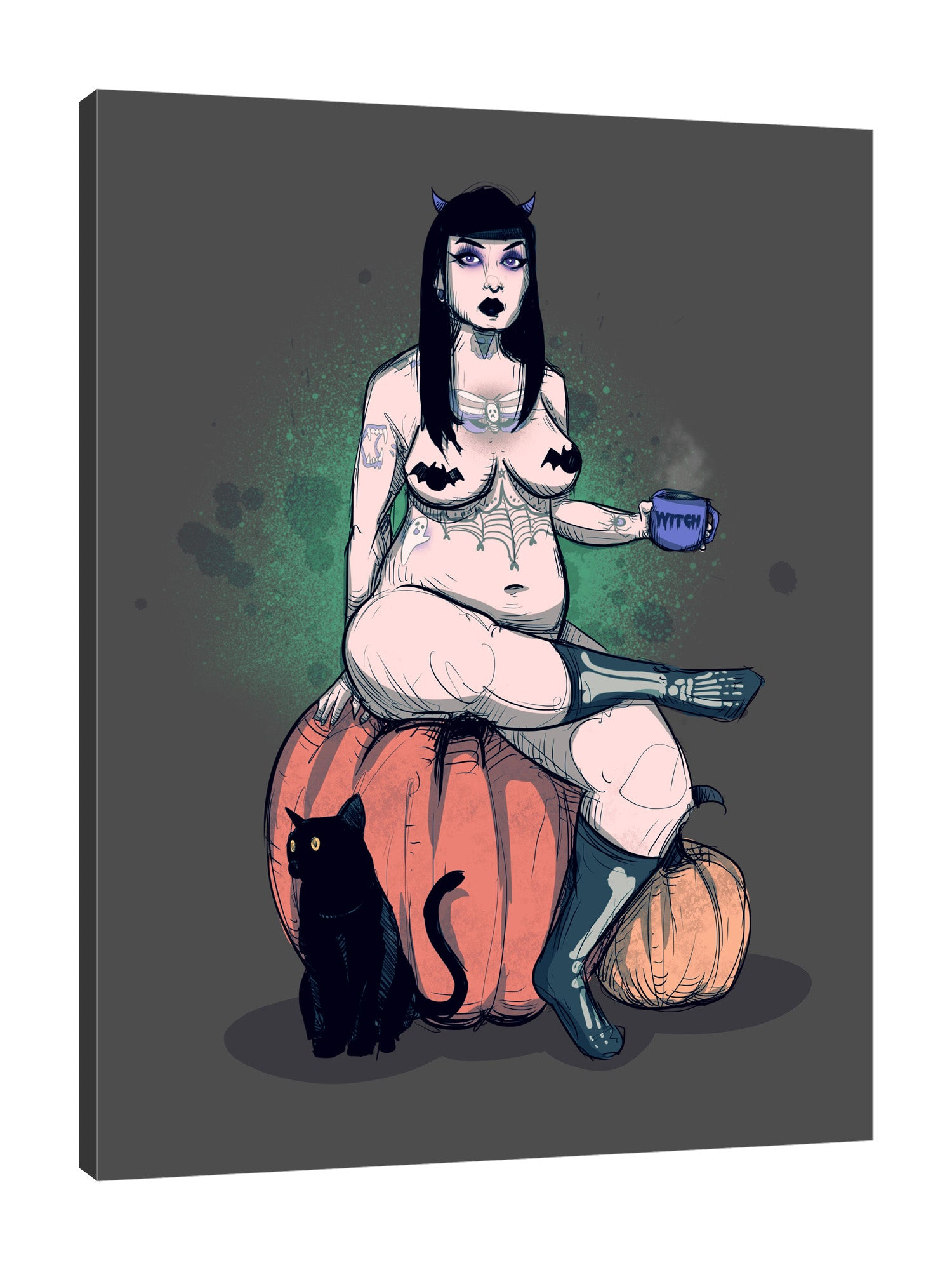 Ludwig-Van-Bacon,Vertical,3X4,Modern & Contemporary,People,Fantasy & Sci-Fi,Entertainment,Animals,halloween,woman,cosplay,erotic,lady,bats,bat,cup,cups,witch,witches,cats,cat,animals,animal,socks,sock,pumpkins,pumpkin,Mint Green,White,Beige,Teal Blue,Black,Gray,Charcoal Gray,Blue