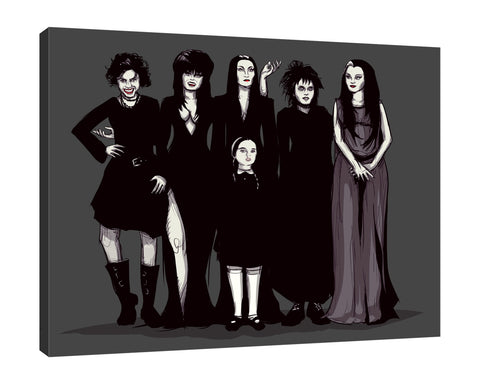 Ludwig-Van-Bacon,Horizontal,5X4,Modern & Contemporary,People,Fantasy & Sci-Fi,Entertainment,girls,girl,ladies,lady,women,woman,adams family,spooky,halloween,black,gothic,emo,Blue,White,Navy Blue,Charcoal Gray,Gray,Mist Gray