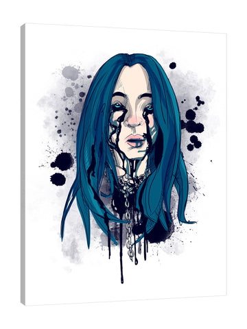 Ludwig-Van-Bacon,Vertical,3X4,Modern & Contemporary,People,Fantasy & Sci-Fi,woman,woman,lady,ladies,crying,cry,black,tears,tear,drips,drip,black,spots,spot,splatters,splatter,chains,chain,blue,white,gray,Red,Mist Gray,Black,Gray