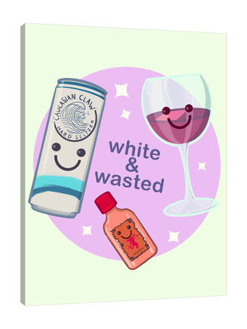 Ludwig-Van-Bacon,Vertical,3X4,Modern & Contemporary,Food & Beverage,circle,circles,sparkle,sparkles,white wasted,white,sparkling,wine glass,wine glasses,wine,glasses,glass,cans,can,words and phrases,white and wasted,caucasian claw,happy,Red,Coral Pink,Mist Gray,Purple,Brown,Green
