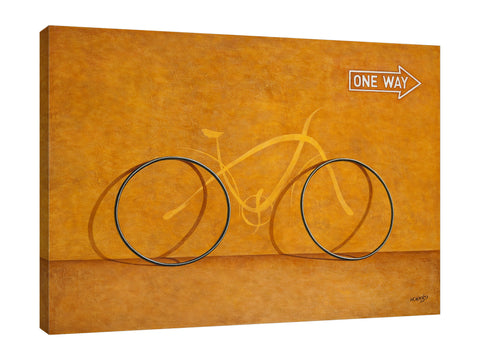 Horacio-Cardozo,Modern & Contemporary,Transportation,transportation,transportations,bike,bikes,bicycle,bicycles,tires,tire,one way,words,word,one,way,arrow,arrows,golden,Brown,Charcoal Gray,Mist Gray,White,Gray