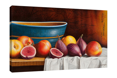 Horacio-Cardozo,Modern & Contemporary,Food & Beverage,fruits,fruit,apples,apple,bowls,bowl,peace,peaces,cloth,clothes,tablecloth,tableclothes,chinese,kitchen,Purple,Charcoal Gray,White,Black,Gray