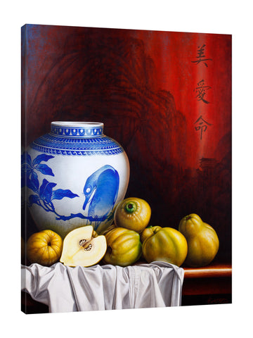 Horacio-Cardozo,Modern & Contemporary,Food & Beverage,Animals,fruits,fruit,jar,jars,animals,animal,birds,bird,leaves,leaf,tablecloth,table clothes,cloth,clothes,chinese,Red,Blue,Charcoal Gray,Sea Green,Gray,Purple
