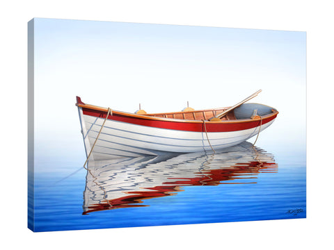 Horacio-Cardozo,Coastal,Modern & Contemporary,Nautical & Beach,Transportation,coastal,boat,boats,oars,oars,rowboat,rowboats,seas,sea,oceans,ocean,tranquil,bay,bays,rope,ropes,peaceful,peace,white,blue,landscape,Red,Coral Pink,Gray,Lavender Purple,Black,Mint Blue,Charcoal Gray,Cranberry Red