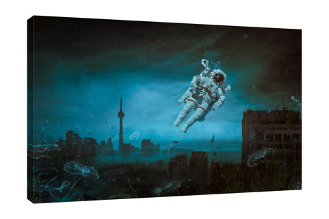 Mario-Sanchez-Nevado,Horizontal,3X2,Modern & Contemporary,Fantasy & Sci-Fi,People,space,cloud,skies,sky,jellyfish,blue,buildings,building,cityscrapes,cityscrape,galaxy,spacesuit,spacesuits,Sea Green,Charcoal Gray,Gray,White,Black